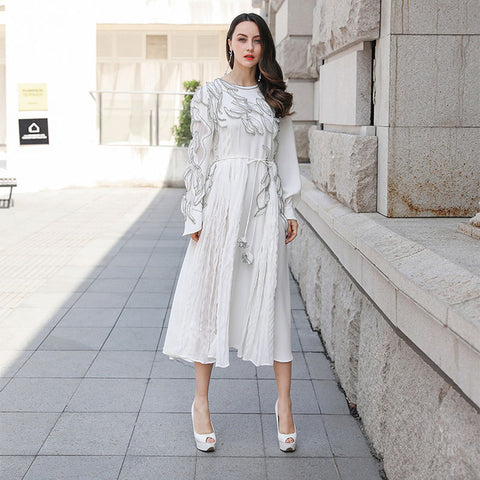 Lace Up Party Pleated Elegant Print White Dresses