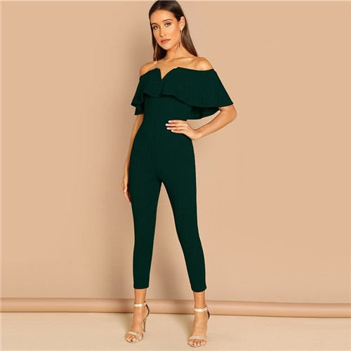 Off Shoulder Flounce Layered Neck Sweetheart Tailored Jumpsuits
