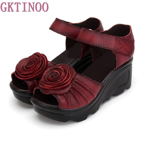Ethnic Style Genuine Leather Sandals