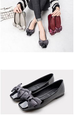 fashion butterfly knot square toe party leather ballet flat shoes