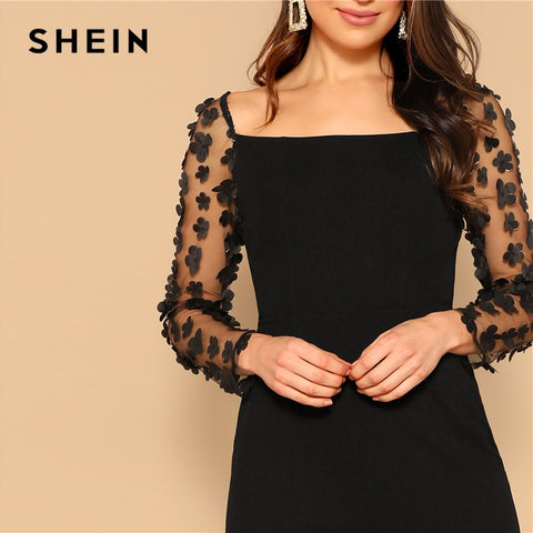 Black Sexy Mesh Flower Appliques Sleeve Square Neck Jumpsuit