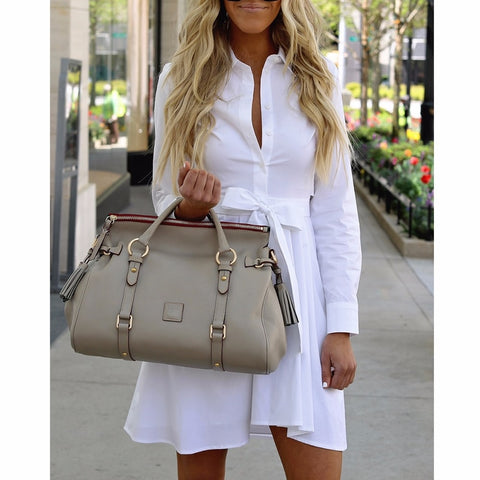 Solid Long Sleeve Shirt With Buttons Belt Soft Cotton Casual Viscose White Dress