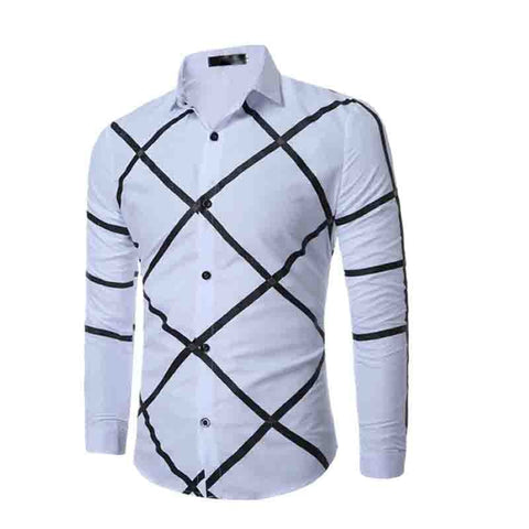 leisure Casual long sleeve grid youth geometry printed dress shirts
