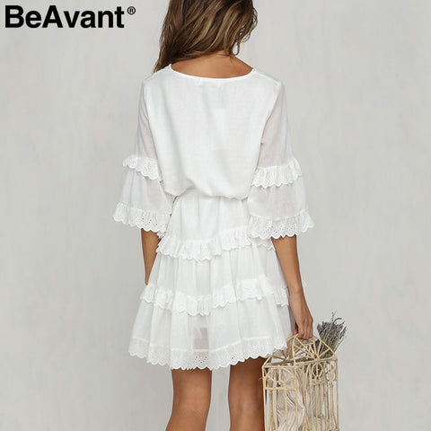 Elegant layered ruffle Casual embroidery cotton white dress