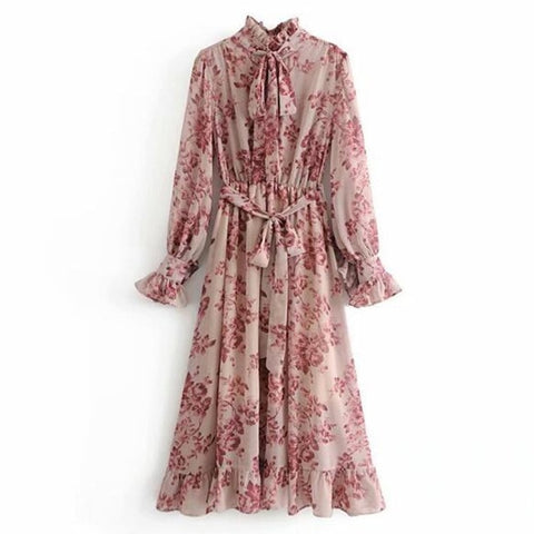 Pink Flower print Long Sleeve With Sashes Ruffles Floral Dresses