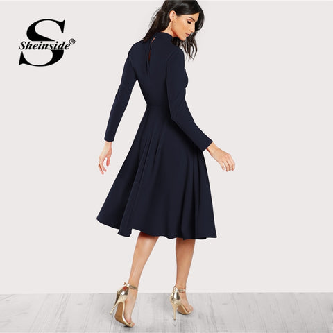 Navy Mock Neck Fit and Flare Long Sleeve Midi Dress