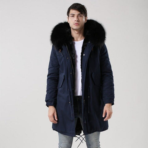 Black Real Fur Collar Hooded Parka Thicken Warm Fur Coats