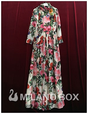 Runway Long Sleeve Sequined Beading Rose Floral Bird Printed With Scarf Maxi Dress