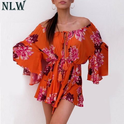 Off Shoulder Floral Flare Sleeve Sexy Casual Boho Bohemian Rompers