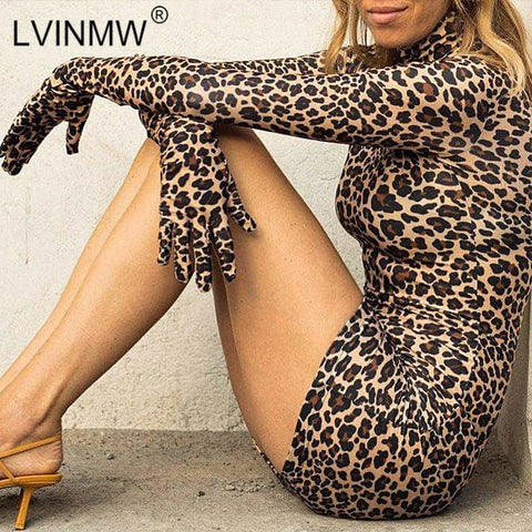 Sexy Leopard Print Bodycon Cotton Long Sleeve With Gloves Turtleneck Mini Leopard Dress