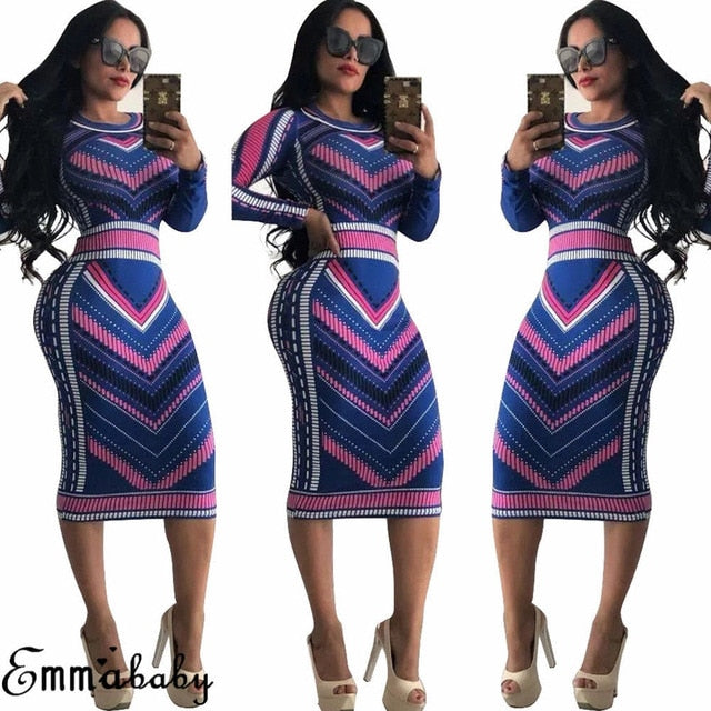 Casual O neck Long Sleeve Sexy Striped Print Dresses