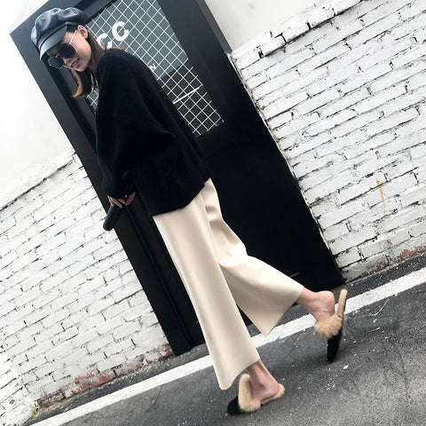 version of woolen wide leg pants