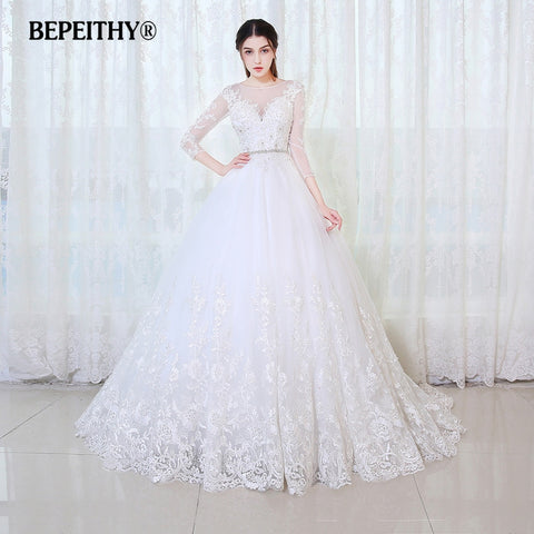 Ball Gown Princess Full Sleeves With Belt Lace Vintage Wedding Dresses