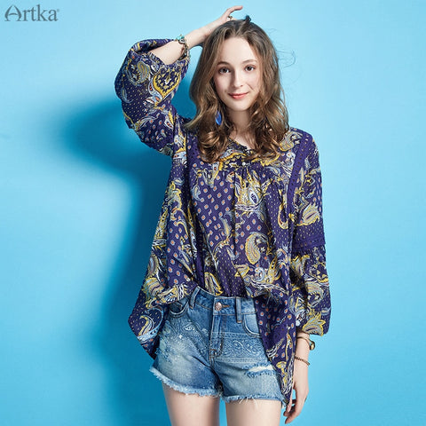 Long Sleeve V Neck Loose Cotton Flower Printed Bohemian Blouse Shirts