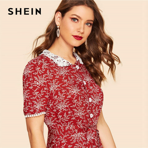Lace Peter Pan Collar Fit And Flare Belted Botanical Vintage Dresses
