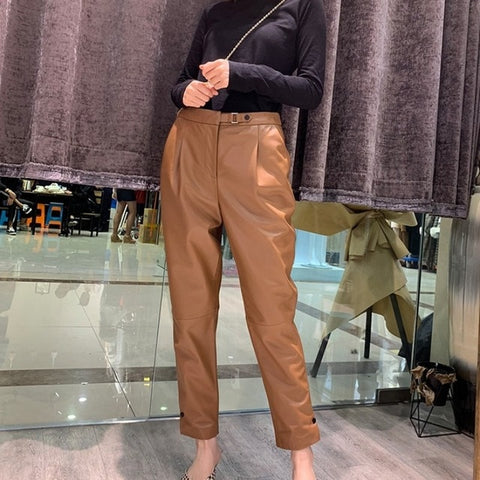 Luxury Sheepskin High Waist Genuine Leather Loose Natural Real Leather Pencil Pants
