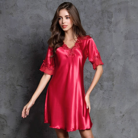 Sexy Satin Silk Half Sleeve Embroidery Sexy Sleepwear