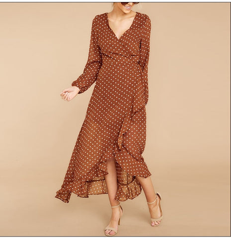 V neck Sexy Chiffon Floral Dot Long Long Sleeve Bohemian Dress