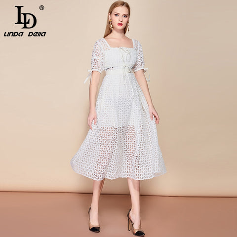 Lantern Sleeve Solid Hollow out Lace White Dresses