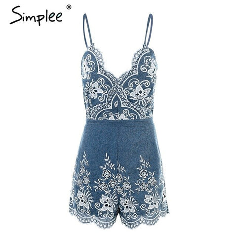 Embroidery v neck Strap elegant floral sexy zipper Rompers