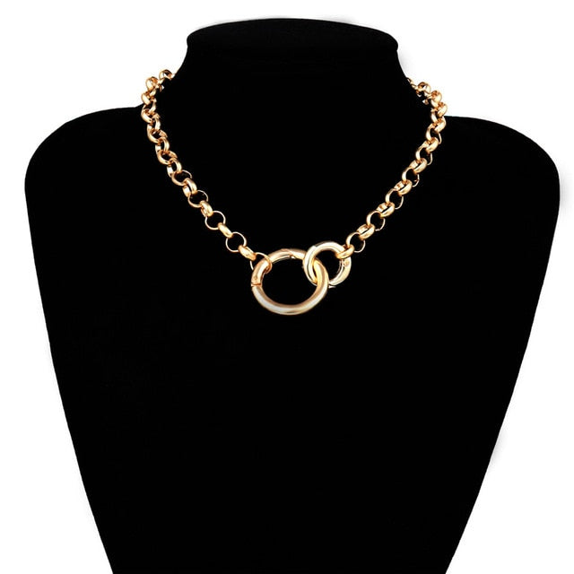 Gold Color Double Round Circle Lasso Choker Necklace