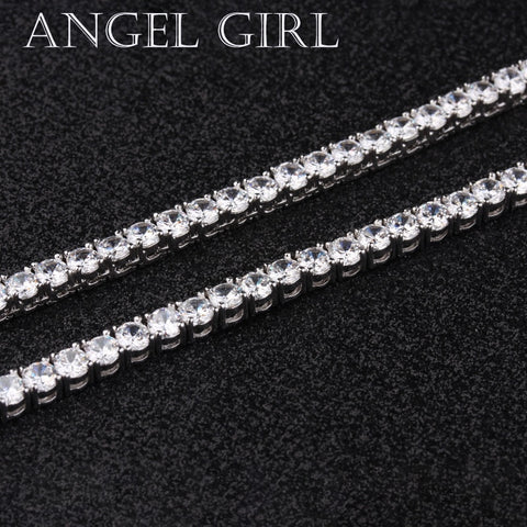CZ Crystal silver color stone chain tennis necklace