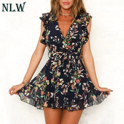Vintage White Floral Print Chiffon Sexy Backless Floral Dresses
