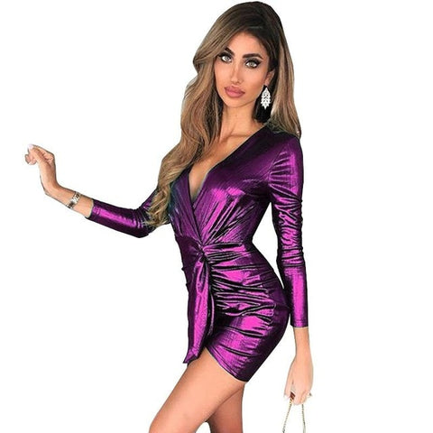 Bandage Deep V Neck Mini Sexy Wrap Dress