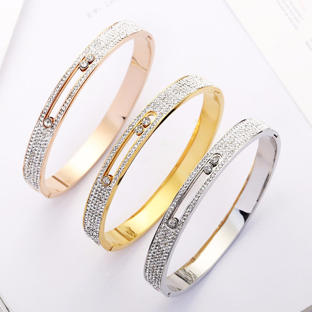 Rose Gold Hollow Crystal Stainless Steel Love Slide Zircon Carter Bangle Cuff Bracelet