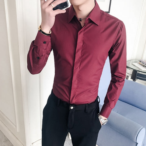 Cotton Casual Slim Fit Social Dress Shirts