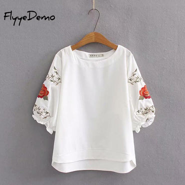 Floral Embroidery Short Sleeve O-neck Bohemian Blouse Shirts