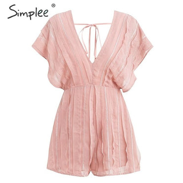 Casual backless Lace up v neck pink Rompers