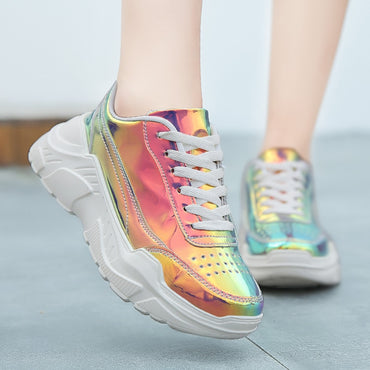Laser Thick Sole Sneakers Shoes