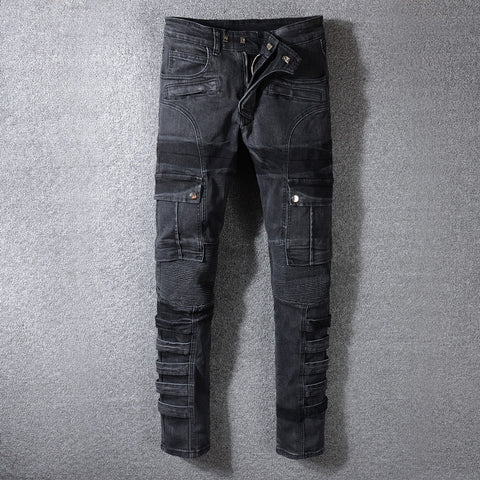 Black Color Spliced Designer Cargo Biker Jeans