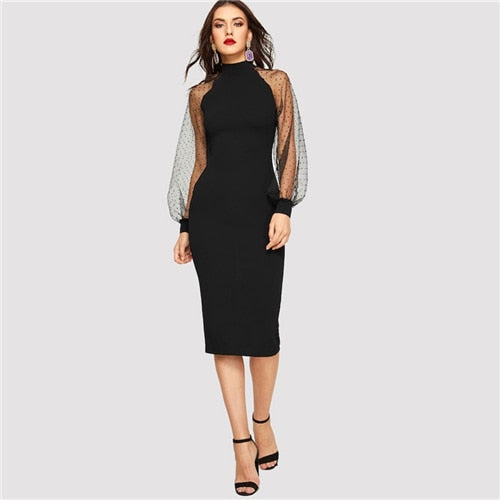 Pencil With Jacquard Contrast Mesh Lantern Long Sleeve Dresses