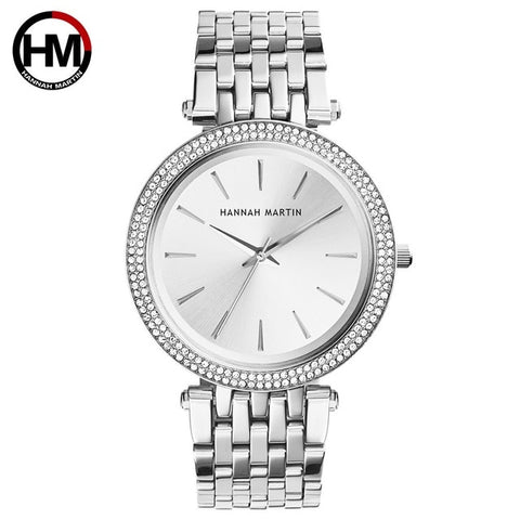 Luxury Silver Steel Rhinestone Diamond Bracelet Watch