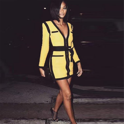 Yellow Long Sleeve V Neck Sexy Mini Dresses