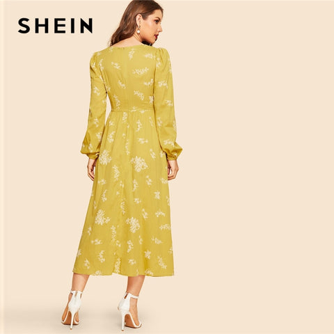 Mustard Ruched Front Bishop Sleeve Casual Vintage Dresses