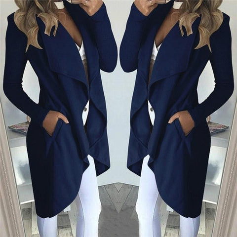 Cotton Blends Pockets Long Sleeve Lapel Collar Slim Casual coat