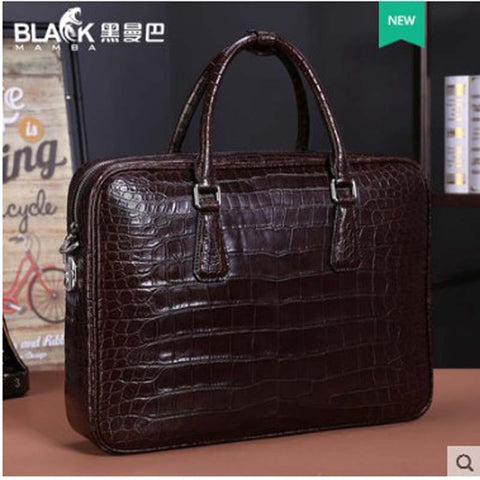 Lawyer full leather crocodile handbag