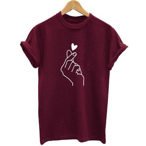 Graphic Love Hand Funny T shirt
