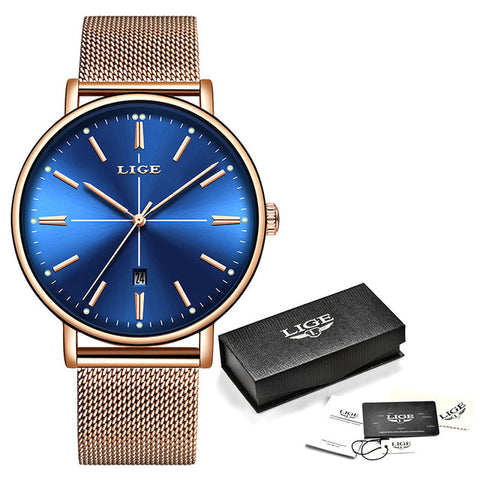 Rose Gold Blue Table Watch