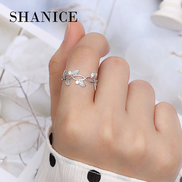 Elegant Sterling Silver Leaf Open Ring