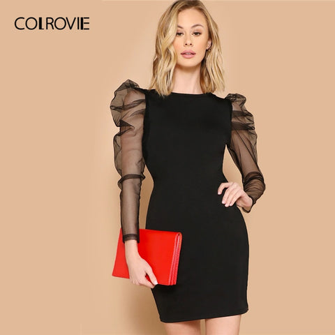 Black Mesh Long Sleeve Sheer Bodycon Elegant Slim Fit Mini Office Dresses