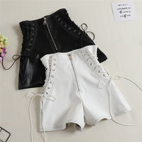 PU Tie Casual Black Shorts