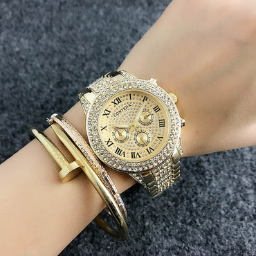 Luxury Rosy Gold Diamond Quartz Analog Wrist Watches
