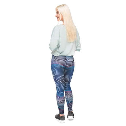 Blue Futuristripes High Waist Sexy Printing Legging