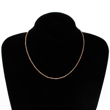 Thin Choker Dainty Gold Silver Color Bead Necklace