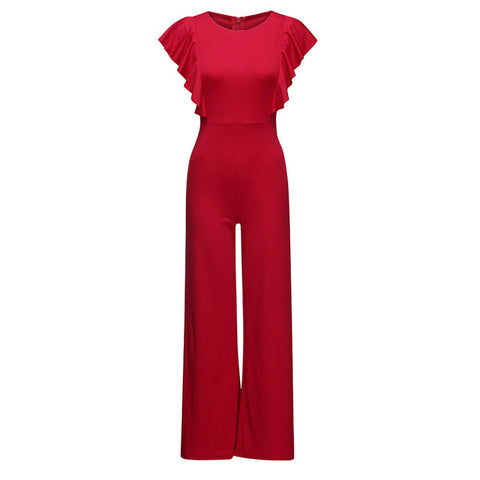 Sleeveless Backless Red Ruffles Elastic Waist Sexy Jumpsuits