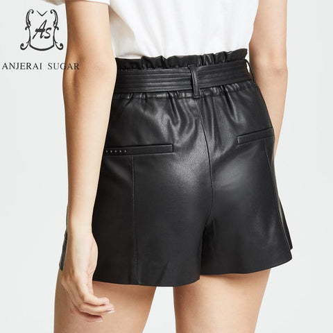 Sheepskin Genuine leather high waist belt pocket black Sexy loose hot shorts